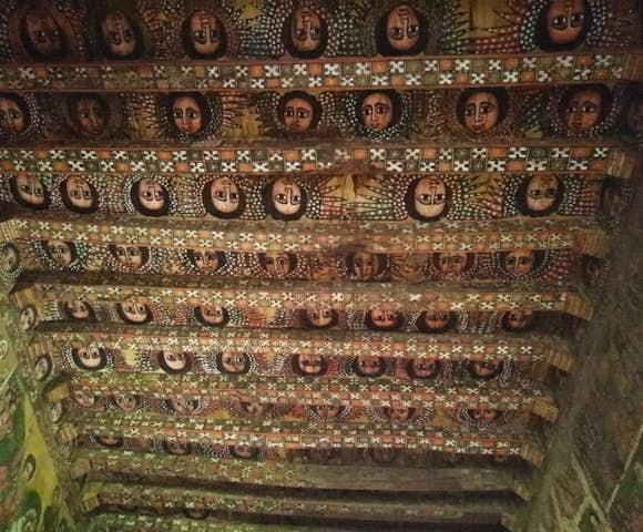 Ceiling of angels in Debre Berhan Selassie Church in Gondar