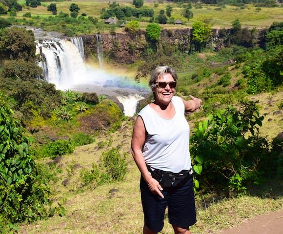 Woman in front of Blue Nile Falls in Bahir Dar