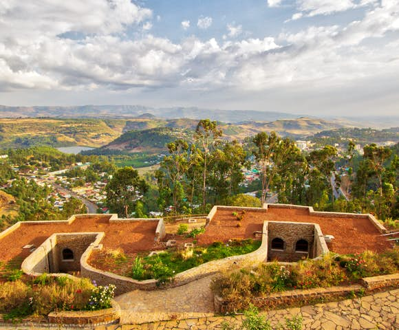 View over Gonder with mountains in background at Gondar Hills Resort