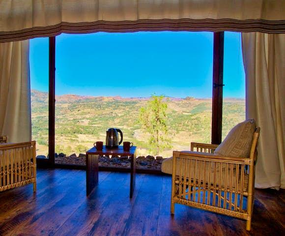 Patio view from bedroom at Gondar Hills Resort