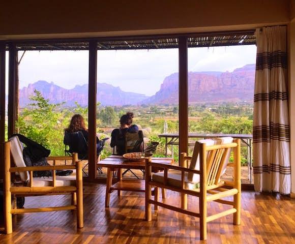 Korkor Lodge veranda with mountains in background