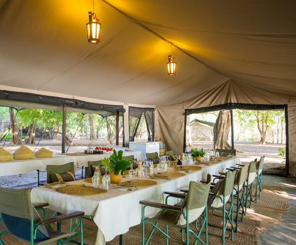 Dining room tent at Lales Camp