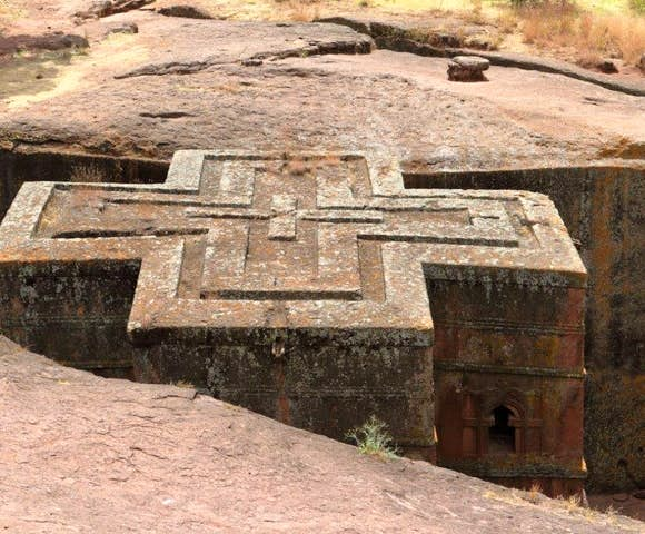 Church of Saint George, rock-hewn churches in Lalibela Ethiopia