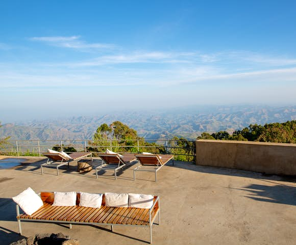 Decking at Limalimo Lodge with view of Simien Mountains