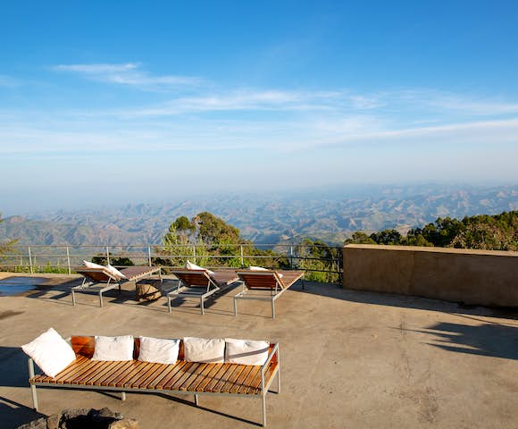 View from deck of Limalimo Lodge in the Simien Mountains