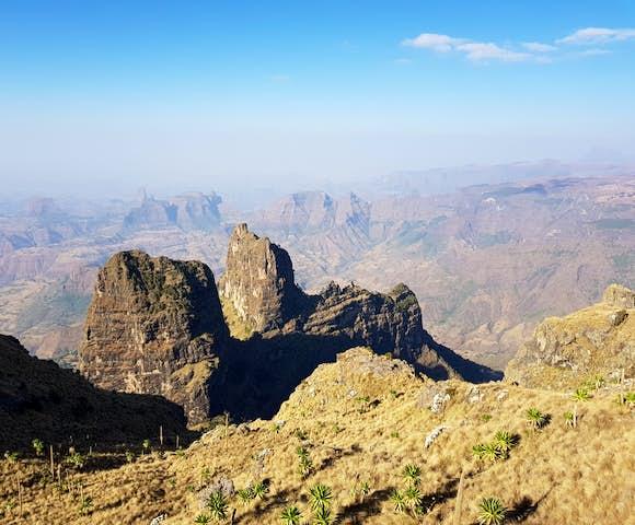 Simien Mountains landscape under blue sky