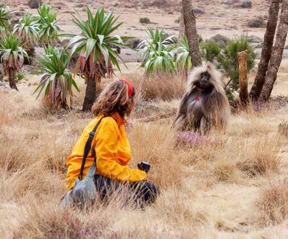 Woman and Gelada Monkey in field in the Simien Mountains